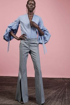 Off the shoulder statement tops have been a part of Sylvie Millstein's wheelhouse for several seasons now. So while finding ways to reimagine the trend for resort, she found inspiration in the beauty of traditional Argentinian gauchos. Cotton men's shirts were reworked to fall off a