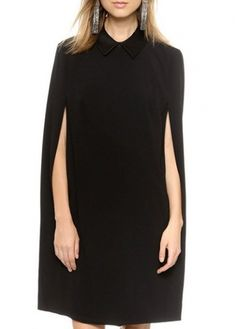 Laconic Solid Black Turndown Collar Long Sleeve Dress