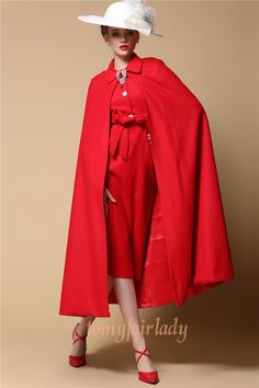 Unique Vintage 1930 Greta Garbo Bright Red Cloak Dress Suit Red Wool Two Piece Pencil Dress with Belt Stunning Spring Red Evening Dress Set by MyFairLady1950 on Etsy https://www.etsy.com/listing/222969907/unique-vintage-1930-greta-garbo-bright