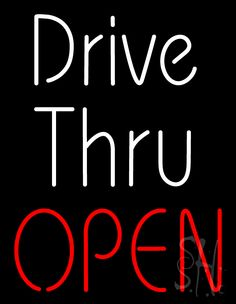 White Drive Thru Red Open Neon Sign 31 Tall x 24 Wide x 3 Deep, is 100% Handcrafted with Real Glass Tube Neon Sign. !!! Made in USA !!!  Colors on the sign are Red and White. White Drive Thru Red Open Neon Sign is high impact, eye catching, real glass tube neon sign. This characteristic glow can attract customers like nothing else, virtually burning your identity into the minds of potential and future customers.