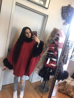 Grey cape with FOX fur Capes, Fox Fur, Grey, Black, Red, Cape Clothing, Gray, Black People, Mantles