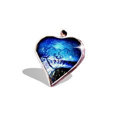 Blue Glass Happy Heart Necklace, Unique, Handmade, ENGRAVED Special MESSAGE, Stained Glass Heart Pendant, Blue or Blue/Green Glass, Numbered on Etsy, $35.00
