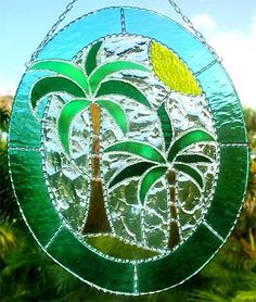 TROPICAL HOME DECOR -  Tropical Coconut Tree Stained Glass Sun Catcher by StainedGlassDelight on Etsy, $54.95
