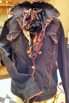 altered couture jacket - open all seams then dye it in the washer. The ragged edges will then be colored and you have an awesome jacket