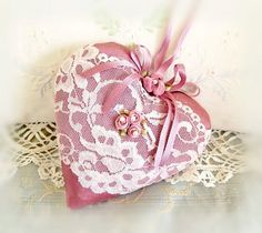 Valentine Heart Pillow 6 X 6 Door Hanger Rose by CharlotteStyle