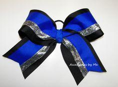 Blue Black Silver Big Cheer Bow