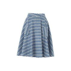 Lowie Wave Print Skirt (300 RON) ❤ liked on Polyvore featuring skirts, flare skirt, blue knee length skirt, vintage print skirt, patterned skater skirt and blue skirt