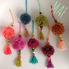 Colourful pom pom tassel - DIY great for gifts and perfect bag accessories