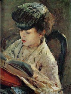 ✉ Biblio Beauties ✉ paintings of women reading letters & books - Antonio Mancini | Bimbo che Legge