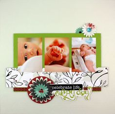 Obsessed! Almost makes me want to have another baby. Ok, not really but it does make me want to get some more baby pics printed so I can use them in this layout!! ADORABLE! Enchanted Power Palette once again! #scrapbooking