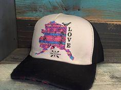 """Alaska Chicks Co - Alaska """"Love"""" Trucker Hat - purple, gray, black, $15.00 (http://www.alaskachicks.com/alaska-love-trucker-hat-purple-gray-black/)"""