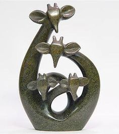 Soapstone Art | Soapstone giraffe sculpture family of 4 ornaments unusual anniversary ...