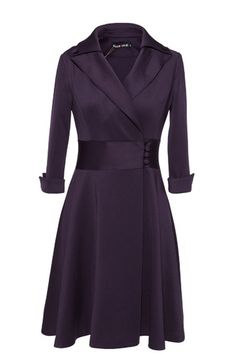 Notched Lapels Bound Waist Knee Length Dress