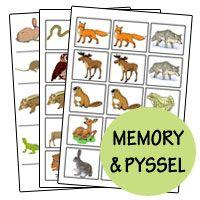 Djuren i skogen - Pyssel och memory | Goodies