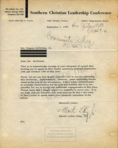 Letter from Reverend Martin Luther King, Jr. to Dr. Eugene McGowan, September 1, 1965 (Three lines redacted for privacy)