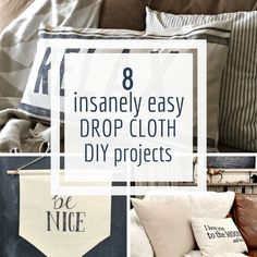 10 Insanely Easy Painters Canvas Drop Cloth Projects to do Right Now! 8 super easy and stylish projects using painters canvas drop cloth. Have you wanted to try using it in your home but didnt know where to start? Start here! Drop Cloth Tablecloth, Drop Cloth Rug, Canvas Drop Cloths, Drop Cloth Curtains, Drop Cloth Slipcover, Painters Cloth, Drop Cloth Projects, Sewing Projects, Diy Projects