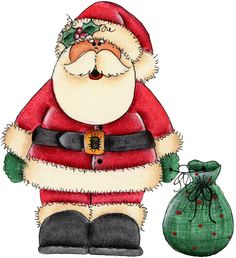 santa and his bag Christmas Clipart, Christmas Printables, Christmas Pictures, Christmas Rock, Christmas Holidays, Christmas Ornaments, Illustration Noel, Christmas Illustration, Illustrations