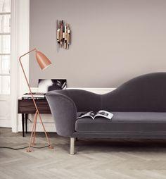 Herringbone floor with luxe velvet sofa and copper lamp. Perfection.