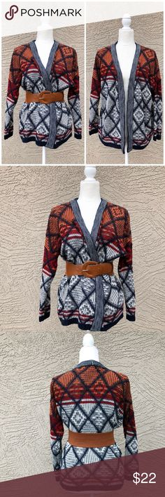 """LA HEARTS Open Front Tribal Print Cardigan Navy, orange, red & white Open Front knit cardigan. Tribal print. Length: 24"""", pit to pit (with the front meeting): 24"""". ✨OFFERS WELCOME✨ La Hearts Sweaters Cardigans"""