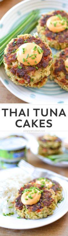 Thai Tuna Cakes with Sriracha Aioli   @simplywhisked