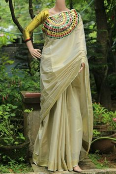 Beautiful Mirror Work Designer Kerala Saree: DIY: Recycled Newspaper Temple at Home Simple Sarees, Trendy Sarees, Ethnic Fashion, Indian Fashion, Women's Fashion, Fashion Tips, Indian Dresses, Indian Outfits, Kerala Saree