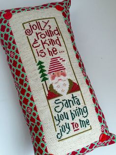 Happy holidays!  This pillow measures approximately 13 x 7 and is ready to ship…