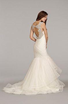 Hayley Paige 'Emeryn' Embellished Tiered Chiffon Mermaid Wedding Dress | Nordstrom