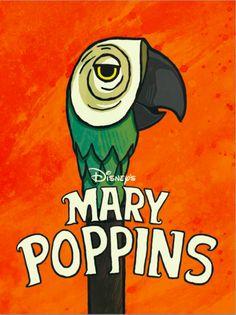 Mary Poppins Parrot Umbrella Handle artwork 1964