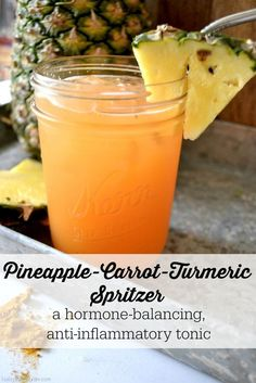 Pineapple-Carrot-Turmeric Spritzer   There are a handful of bloated, emotional, crampy, hormonal, eat-an-entire-bag-of-Oreos days that lead up…