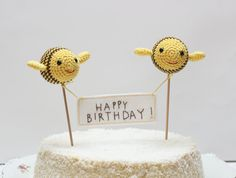 Bumble Bees Birthday Cake Topper A set of Three Party Decor for Kids by Cherrytime. $42.00, via Etsy.