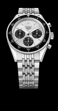 """TAG Heuer Autavia Jack Heuer LE - TAG Heuer celebrates the 85th birthday of Jack Heuer this year with the release of a limited-edition Autavia model with a """"Panda""""-style dial. For details, visit us at WatchTime.com. #watchtime #tagheuer #jackheuer"""