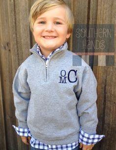 Monogrammed Quarter Zip Sweatshirt for Boys and Girls on Etsy, $32.00