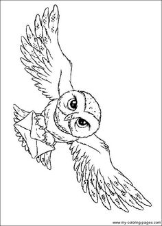Harry Potter Owl Coloring page for kids.