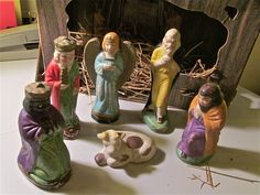 """Nativity figurines """"made in occupied Japan"""". About 3-4"""". 1952. Painted ceramic."""