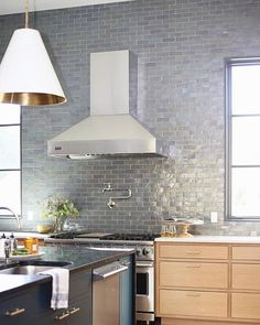 Clé Tile On Instagram Why Go Halfway A Backsplash When You Can Take It All The Way To Top Cletile Zellige Temperedsteel Clezellige
