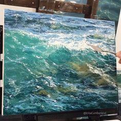 Irina Cumberland – Ekaterina Katasheva – Join the world of pin Realistic Paintings, Cool Paintings, Seascape Paintings, Landscape Paintings, Stürmische See, Acrylic Portrait Painting, Painters Studio, Wave Illustration, My Art Studio