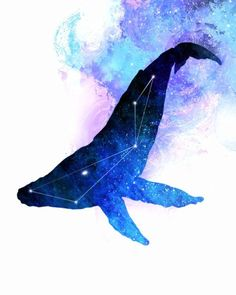 Whale Painting, Space Whale, Whale Constellation, Whale Art, Whale watercolor, hippie painting, hippie print, space painting, galaxy painting, galaxy print, space print, the mind blossom, frank donato, hippie art, spirit animal art, native american art, moon art, moon painting, stars painting