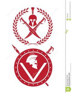 Casco Espartano Y Espadas Cruzadas Ilustraci 243 N De Stock