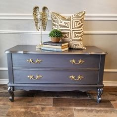 Elegant dresser table painted with Modern Masters Pewter Metallic Paint by Do Dodson Designs