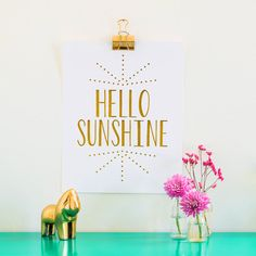 Hello Sunshine Gold Foil Print - Gold Foil Art - 11 x 14 - Nursery Art - Kids room decor - typographic print Gold Nursery, Nursery Art, Nursery Ideas, Room Ideas, Ways To Say Hello, Gold Foil Print, Foil Prints, Kids Room Art, Art Kids