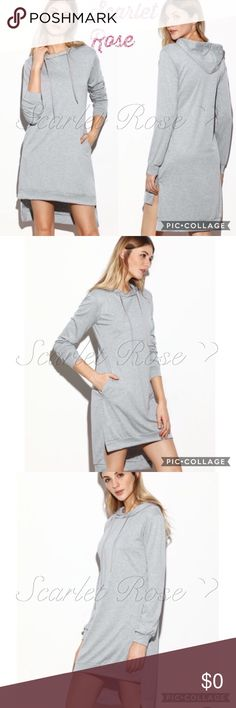 🌹Light Gray Hooded Hi-Lo Sweatshirt Dresses🌹 I bought this light gray hooded sweatshirt dress a while back for myself and have been looking for it ever since for my PFF's - Finally found it! It is so comfortable and cute! It has a hi-lo design, a hood, side slits, & pockets. You can dress this up or down and wear alone or with some colored leggings - such a versatile piece. I have sizes S - XL and they fit TTS. Modeled pics to come. Price is firm unless bundled. Questions are welcomed…