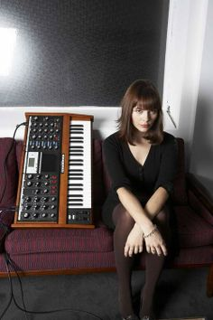 Nina Kraviz with a Moog Voyager