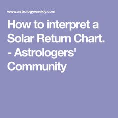 How to interpret a Solar Return Chart. - Astrologers' Community