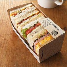 Mixed sandwiches at starbucks japan! Sandwich Bar, High Tea Sandwiches, Picnic Sandwiches, Gourmet Sandwiches, Sandwich Packaging, Coffee Packaging, Bottle Packaging, Cafe Food, Deli Food