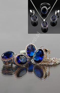 Silver 925, set : earrings, ring, necklace. Zestaw srebro 925 - naszyjnik, pierścionek, kolczyki | biżuteria srebrna