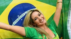 A fan waves a Brazilian flag during the 2014 FIFA World Cup Brazil Group A match between Brazil and Croatia at Arena de Sao Paulo on June Hot Football Fans, Football Girls, Girls Soccer, Soccer Fans, Soccer Memes, Brazil World Cup, World Cup 2014, Fifa World Cup, Messi
