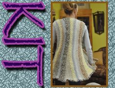 Swing jacket or vest KIT, Lucci Yarn, Knit, Vertical, Multi color, sparkle  by Glass Sheep on Etsy