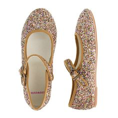 Girls' glitter Mary Janes