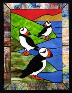 Stained Glass Puffins by *tursiart