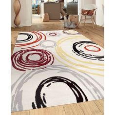 Contemporary Abstract Circle Design Cream 3 ft. 3 in. x 5 ft. Indoor Area Rug